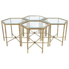 Set of Four Octagonal Faux Bamboo Brass Mastercraft Side Tables