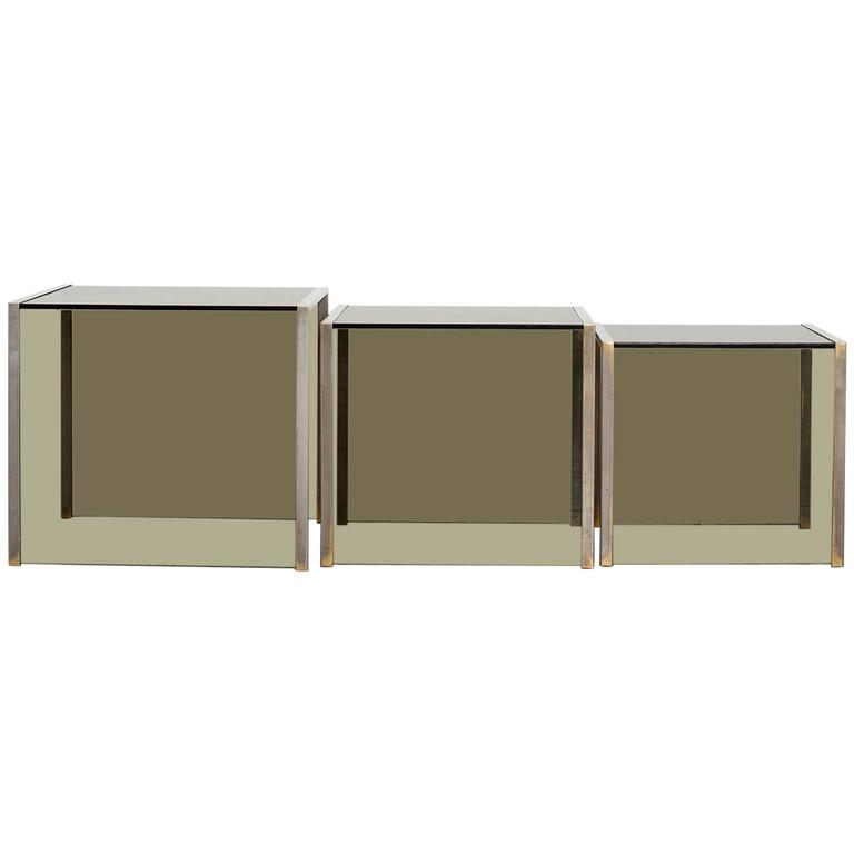 Set of Three Nest Side Tables For Sale
