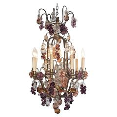 19th Century Louis XV Bronze and Baccarat Crystal Chandelier