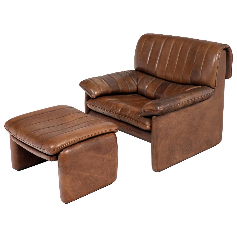Vintage De Sede DS 85 Soft Leather Armchair and Ottoman For Sale