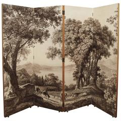 20th Century French Toile Folding Screen