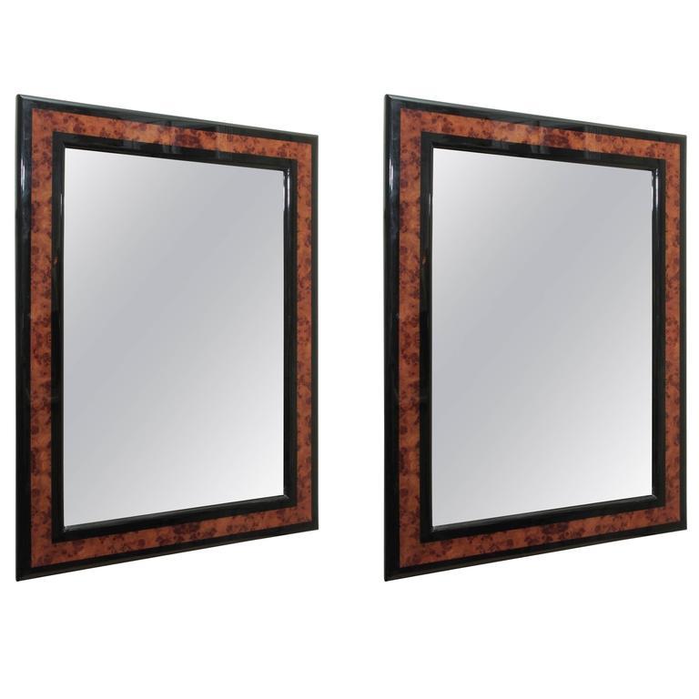 Mid-Century Mirrors, Burled Wood and Ebonized Frames
