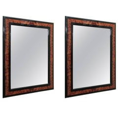 Pair of Burled Wood and Ebony Mid-Century Mirrors, circa 1970