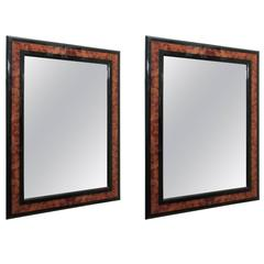 A Pair of Burled Wood and Ebony Mid-Century Mirrors