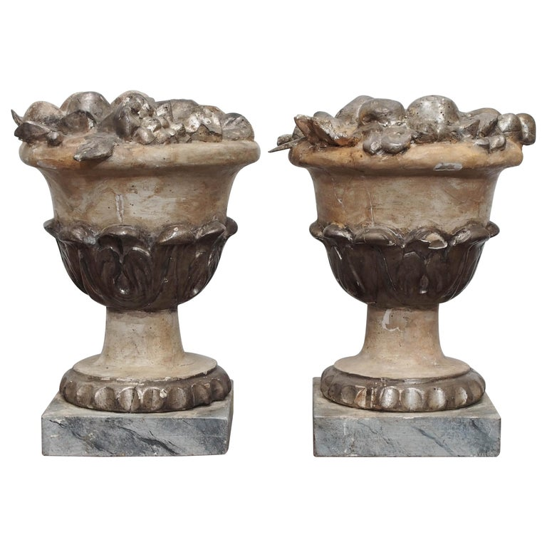 Pair of Carved Fruit Bowls For Sale