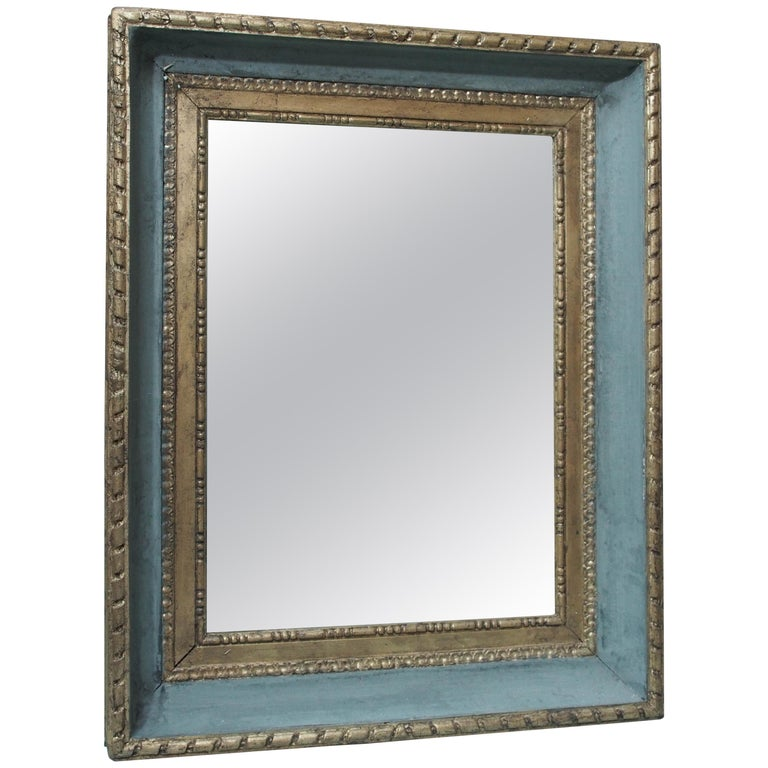 Framed Pair of Gilded and Painted Louis XVI Mirrors For Sale