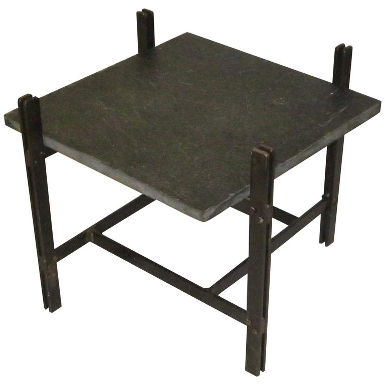 1960s Square Side Table with Slate Top, Bronze Frame, France, Mid-Century