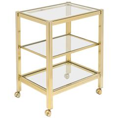Vintage French Brass and Chrome Side Table or Etagere