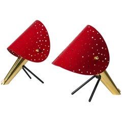 Ein Paar Tischlampen aus Messing mit Durchlöcherten Schirmen von Ernest Igl, 1950er