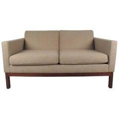 Mid-Century Modern American Walnut Love Seat by Gunlocke
