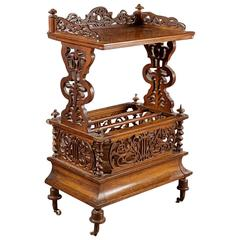 English Canterbury or Magazine stand in Burled Walnut, Mid-19th Century