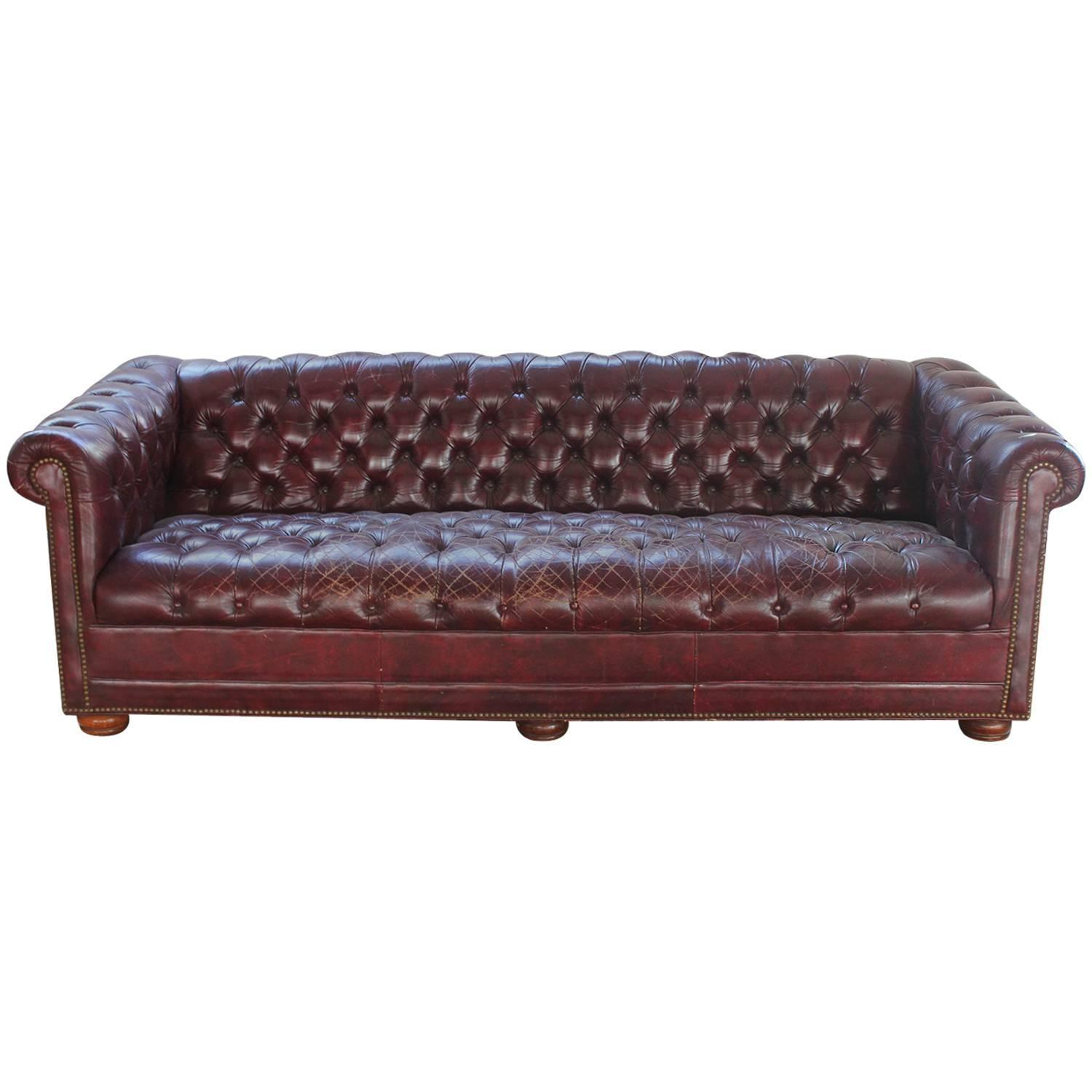 Vintage Distressed Burgundy Leather Chesterfield Sofa For Sale At 1stdibs