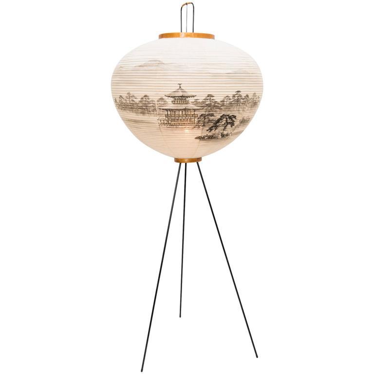 rare hand painted 39 akari 39 floor lamp by isamu noguchi