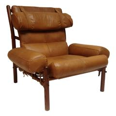 "Arne Norell ""Inca"" Rosewood and Leather Lounge Chair"