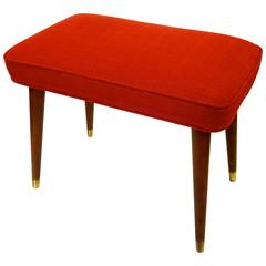 1950s Atomic Age American Modern Ottoman Footstool Upholstered in Red