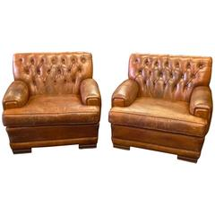 Pair of Original 1920s French Art Deco Button Tufted Leather Club Chairs