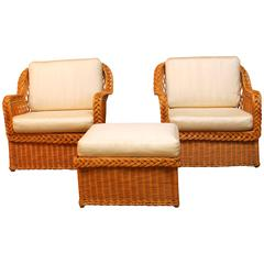 Italian Braided Wicker Rattan Lounge Chairs and Ottoman