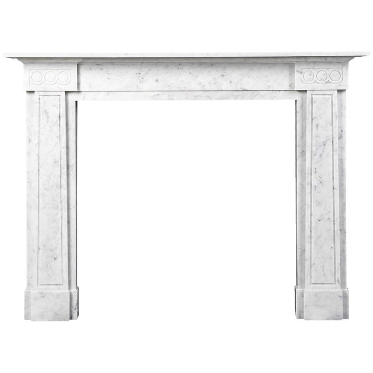 John Soane Inspired Mantelpiece Carved in Carrara Marble