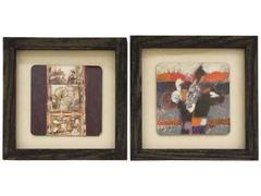 Two Small Square Paintings, Signed Wesley Johnson