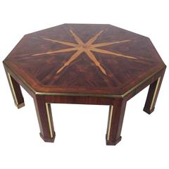 Mid-Century Coffee Table with Starburst Inlay by Baker