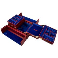 Tanner Krolle London Red Leather Jewelry Case, New