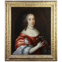 Framed Charles II Oil on Canvas of a Noblewoman