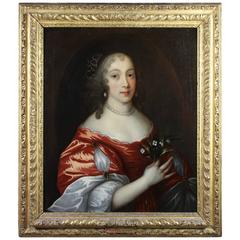 Framed Oil on Canvas of a Noblewoman Attributed to Sir Peter Lely