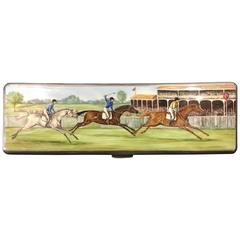 English Sterling Enameled Polo Box, 1936