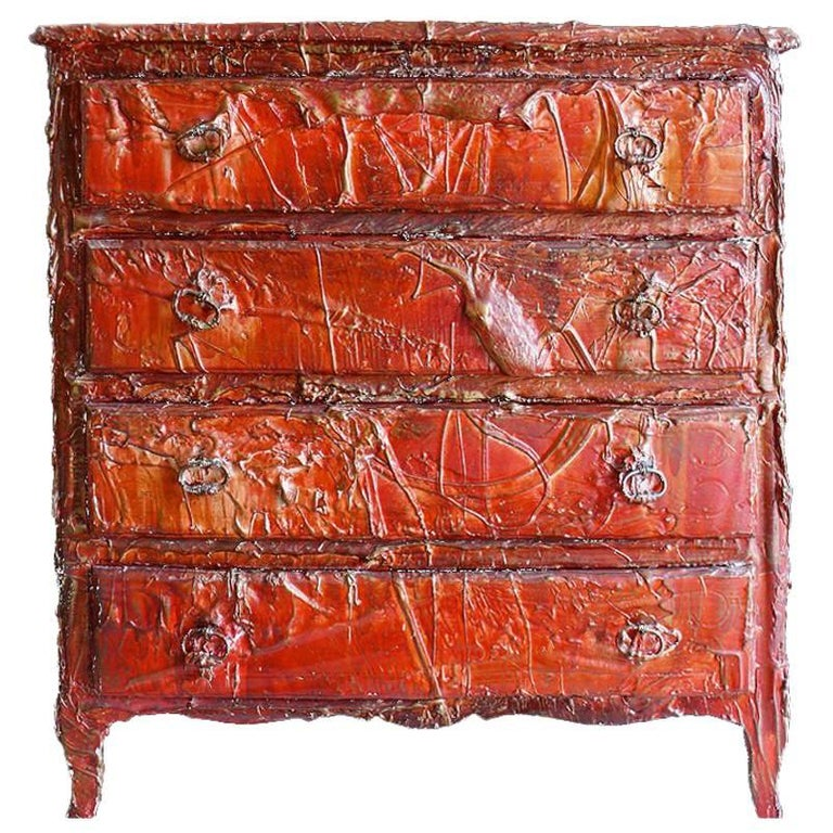 F. Archiguille Custom Painted Red Commode Chest