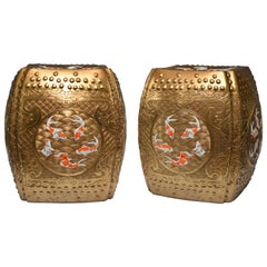 Pair of Fine Carved Golden Glazed Porcelain Stools