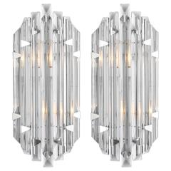 Murano Grey Glass Pair of Sconces in the Style of Venini