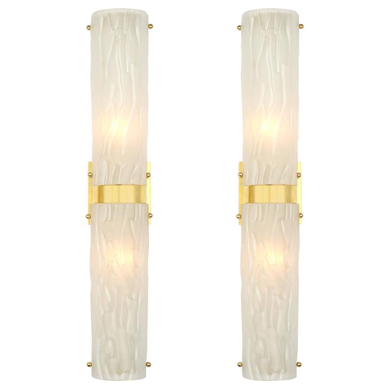 Art Deco Murano Textured Glass and Brass Sconces