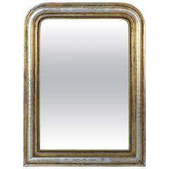 Large Louis Philippe Silver and Gold Banded Mirror