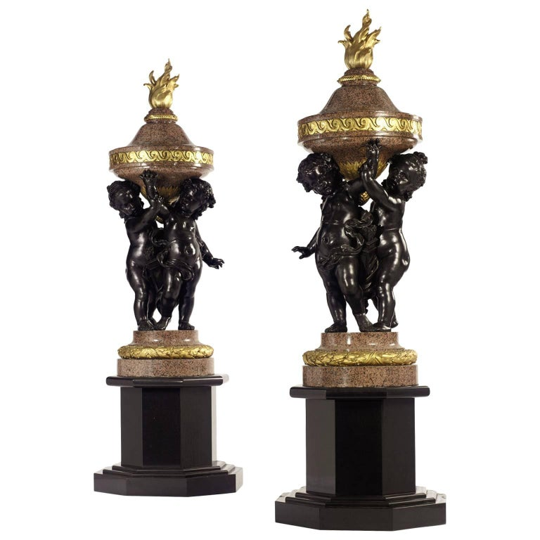 Monumental Pair of French 19th-20th Century Putto Flambeaux Urns Torcheres For Sale