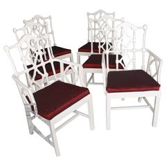 Set of Six Fretwork Chinese Chippendale Vintage Dining Chairs Palm Beach