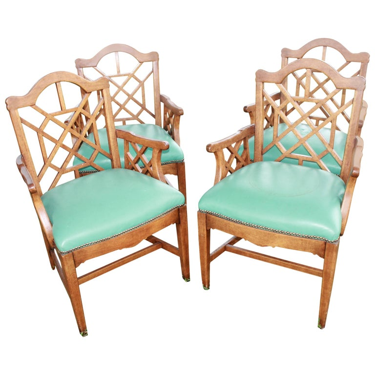 Set of Four Chinese Chippendale Vintage Wooden Fretwork Dining Arm Chairs  For Sale