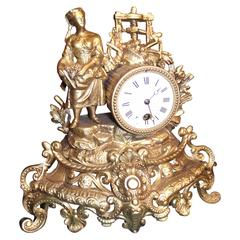 19th Century French Clock with Woman and Wine Press