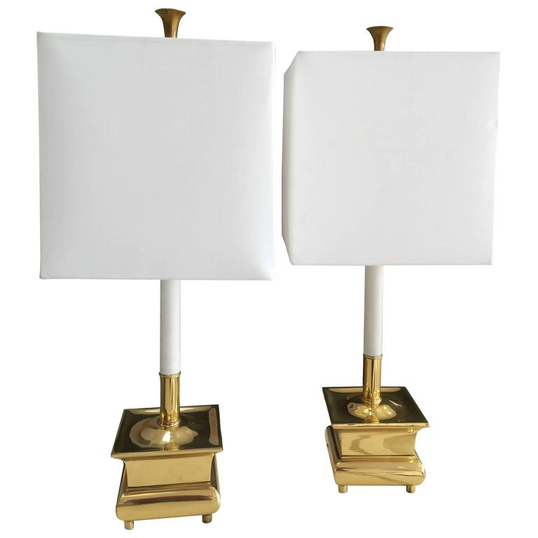 Pair of Exquisite Brass Candle Stick Lamps with Shades