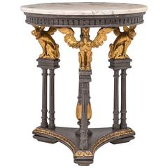 Gilt Griffin Round Marble-Top Center Table