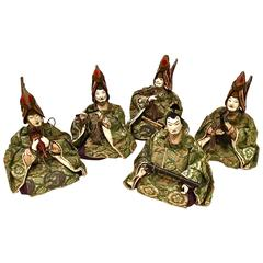 Unusual Set of Five Hayashi Ningyo Dolls