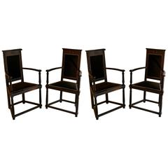 Late 19th Century Pair of Black Wooden Armchairs