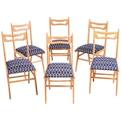 Set Six Italian Chairs by Ico Parisi, 1960s