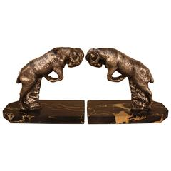 1930 Art Deco Rams Bookends by H. Moreau