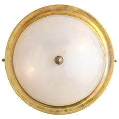 Mid-Century Murano Glass and Brass Flush Mount Ceiling Fixture or Sconce