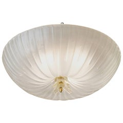 Italian Murano Glass Fluted Dome Flush Mount Ceiling Fixture