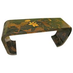 Maitland-Smith Console Sofa Table Oriental Asian Scroll Ming Hollywood Regency