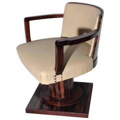 Rotating Desk Armchair in Macassar Ebony, Art Deco Period