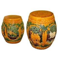 Garden Stools Vintage  Pair of Benches Stands Seat Camels Ceramic Drum Elephant