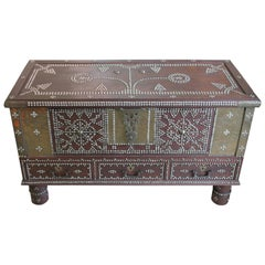 Arab Wooden and Brass Studded Coffee Cocktail Table Trunk or Chest from Zanzibar
