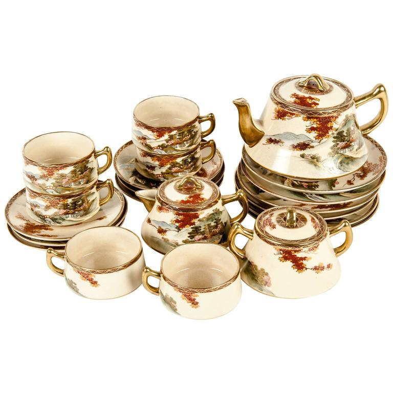 vintage oriental tea service for six people at 1stdibs. Black Bedroom Furniture Sets. Home Design Ideas